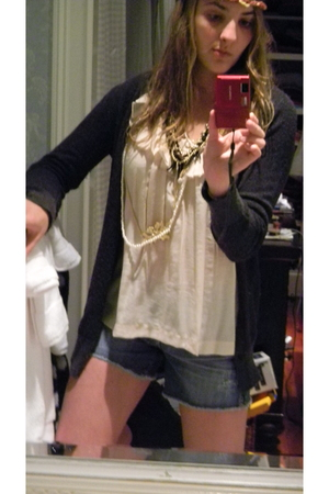 Forever 21 accessories - Anthropologie blouse - JCrew cardigan - AG Adriano Gold