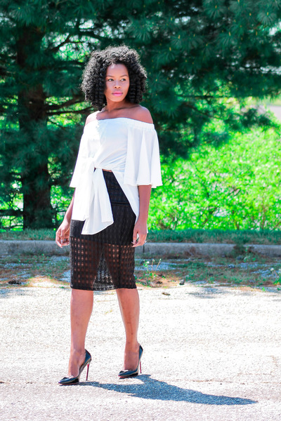 white off shoulder Sheinside blouse - black Skirt skirt