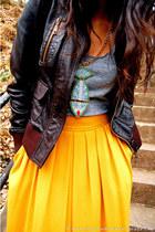 tawny Frye boots - brown leather aviator Zara jacket - silver tank top American