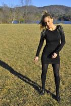black dress - black spiked shoes - black clutch bag
