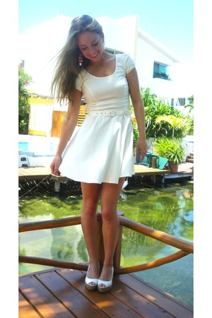 white asos dress - salmon handmade earrings - ivory Zara wedges