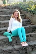 bubble gum pink Sofiwear shoes - aquamarine mint Forever 21 jeans