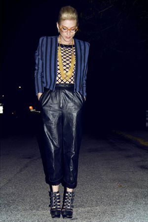 black 80s leather pants - blue 80s blazer - beige 80s nude bodysuit - black mesh