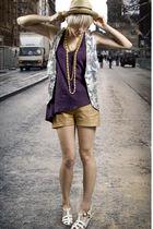 beige tractordog shorts - purple DIY t-shirt - white vintage vest - beige vintag