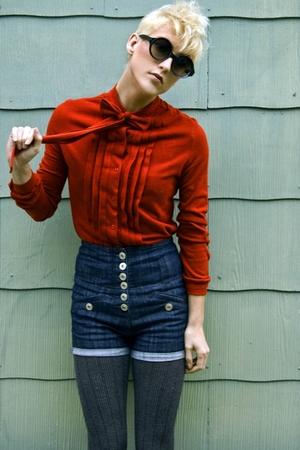 orange vintage 70s ascot tie top - gray knit tights