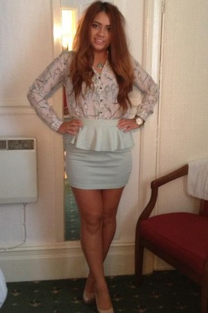 peplum Forever21 skirt - cream next heels - birdy warehouse blouse
