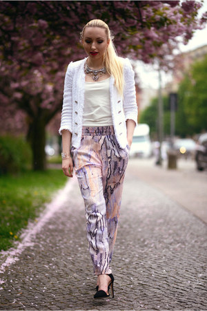 white Zara blazer - black Zara sandals - periwinkle Mango pants