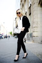 off white Zara bag - black H&M jeans - black Zara cardigan
