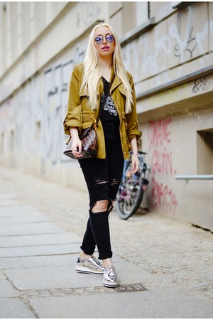 dark khaki edited jacket - silver Zara shoes - dark gray H&M jeans