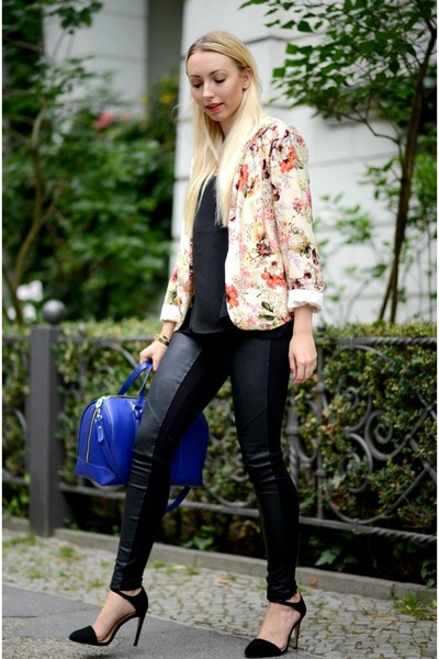 Primark blazer - black Mango leggings - blue Zara bag - gold H&M bracelet