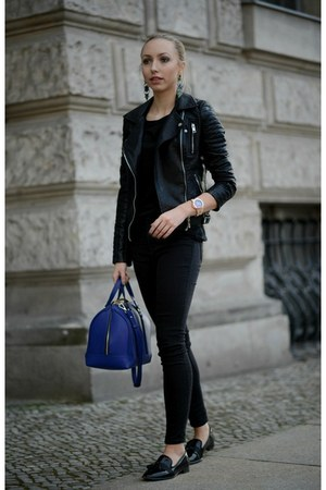 black Zara jacket - blue Zara bag