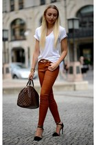 black Zara sandals - burnt orange Zara jeans - white American Apparel shirt