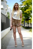 H&M shorts - off white Mango shirt - H&M sunglasses - beige SequinShoes heels