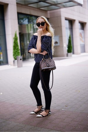 navy striped new look blouse