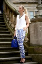 blue Zara bag - Zara necklace - white Zara blouse - black Zara sandals