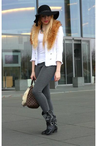 black Zara hat - charcoal gray Zara pants - H&M necklace