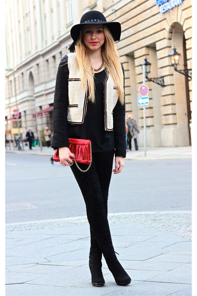 black Zara hat - Mango blazer - red H&M bag