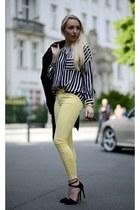 forest green Zara coat - gold H&M bracelet - Stradivarius belt