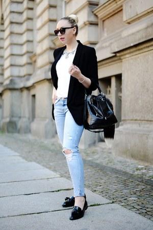 black Zara blazer - light blue Zara jeans - black asos flats