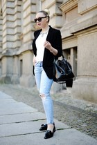 black Zara blazer - light blue Zara jeans - black asos flats