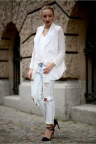 heather gray Zara jeans - white Style Sofia blazer - white Zara top