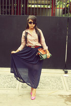 diy sheer chiffon long skirt skirt - secondhand oldschool bag bag