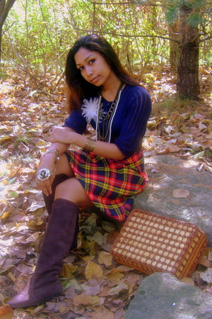 navy Mango sweater - navy Thrifted & reworked skirt - dark brown unknown boots -