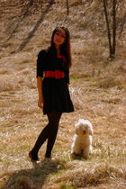 black Andes dress - black HUE tights - red Suzy Shier belt - red American Eagle