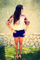 blue Zara shorts - hot pink flower Zara blouse - brown tory burch flats