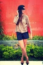 camel snake print Zara blouse - red Aldo bag - maroon Forever 21 shorts