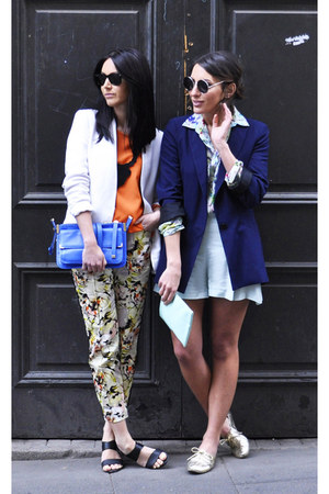 floral M&amp;S pants - navy Zara blazer - blue Zara bag - aquamarine Zara shorts