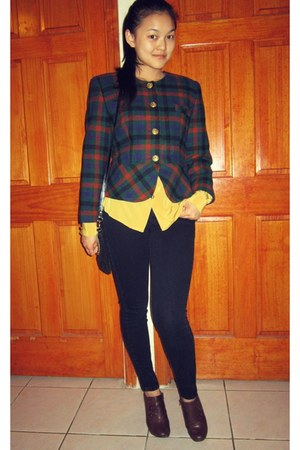 green blazer - brown springs shoes - black Urban Outfitters jeans