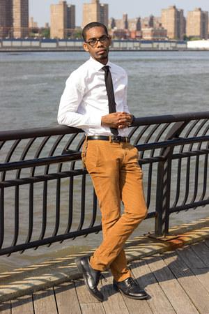 black shoes - white shirt - mustard pants - black tie