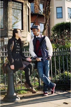 black jacket - dark brown shoes