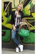 Happening blazer - Amisu coat - Takko jeans - green Orsay bag - Amisu t-shirt
