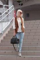 light blue pull&bear jeans - black Zara bag - burnt orange vest