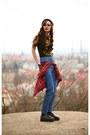 Black-shoes-sky-blue-homemade-jeans-red-shirt-black-tally-weijl-t-shirt