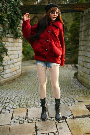 black Steel boots - black H&M hat - ruby red New Yorker jacket