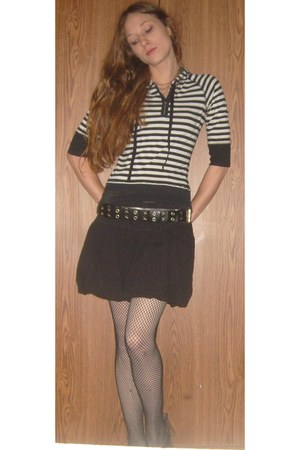 black classic rules skirt - black and white Love Rocks top