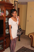 coach bag - beige H&M dress - purple Urban Outfitters tights - Charlotte Russe a