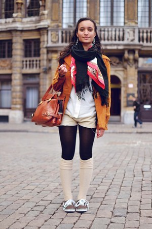 tawny jacket - beige shorts - white blouse