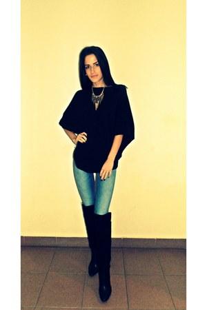 meli melo necklace - Zara boots - pull&bear jeans - Mango blouse