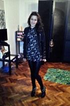 leather Bershka jacket - Zara boots - Atmoshper leggings - Topshop shirt