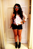 DIY shorts - Zara blouse - random accessories - H&M shoes