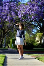 light blue floral Forever 21 dress - navy striped cropped H&M sweater