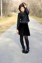 black velvet StyleMint skirt - black suede Aldo boots - black H&M sweater