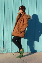 black Levis jeans - green asos shoes - camel Forever 21 coat - black H&M sweater