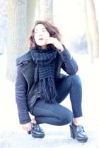 black Forever 21 boots - black Levis jeans - black Topshop jacket