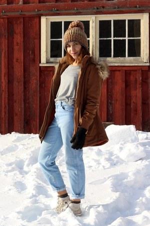 light brown beanie H&M hat - camel parka Forever 21 coat