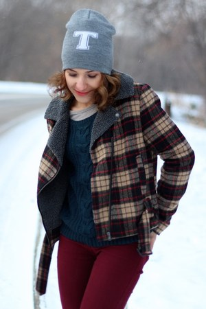 plaid Forever 21 jacket - brick red hollister jeans - heather gray Topshop hat